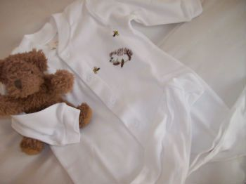 Happy Hedgehog baby sleepsuit from Tom & Bella - cute for a boy or a girl so perfect when you dont know babies' gender. http://www.tomandbella.co.za/pS1111/Combed-Cotton-Sleepsuit.aspx