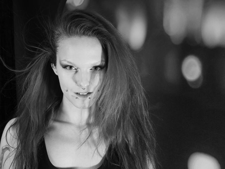 Dark, piercing, tattoo, black and white, b & w, Make up, bones, eyes, wind, hair