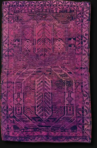 Vintage over-dyed wool rug handwoven in Turkey