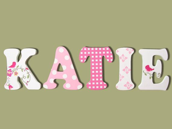 Painted Wall Letters Painted Wooden Name por CuteBoutiqueLetters