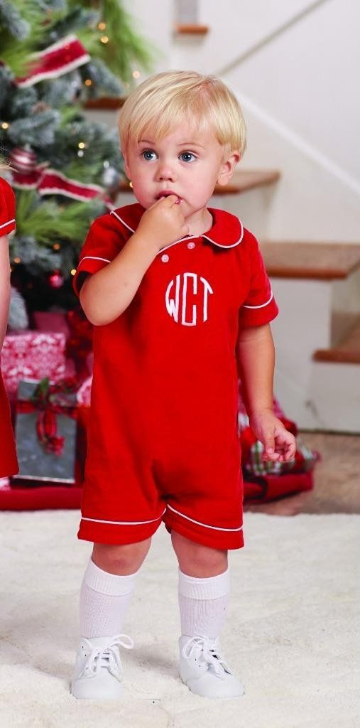 a45b32e8653e Mud Pie Baby Boys Red Corduroy Romper White Piping Peter Pan Collar ...