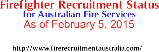 Firefighter Recruitment Status for Australian Fire Services As of February 5, 2015