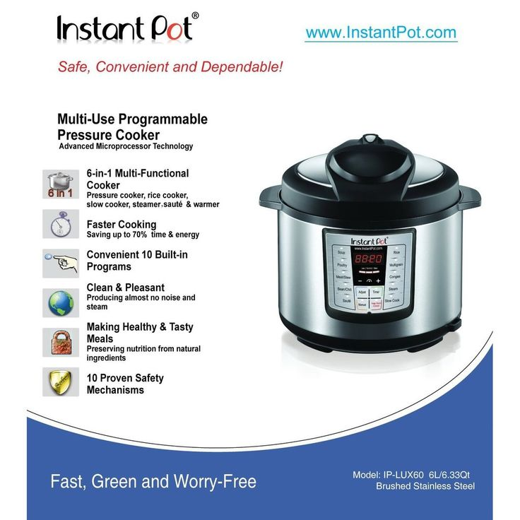 Instant Pot LUX60 V3 6 Qt 6 in 1 Muti Use Programmable Pressure Cooker Slow Coo