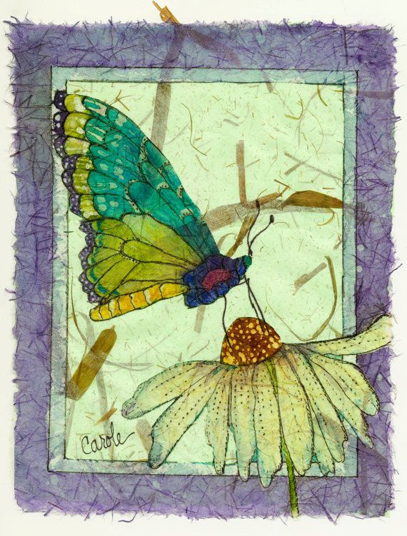 Original Batik Giclee, A Butterfly Enjoying the Nectar of a White Coneflower,11x14 #art #Batik #butterfly