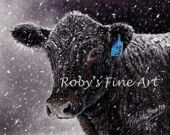 Cattle Print Angus Kee Giclee by Roby Baer PSA