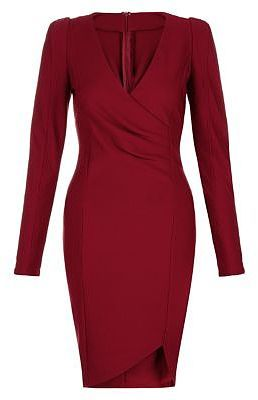 Womens carmine ax paris dark red long sleeve wrap front dress from New Look - £30 at ClothingByColour.com