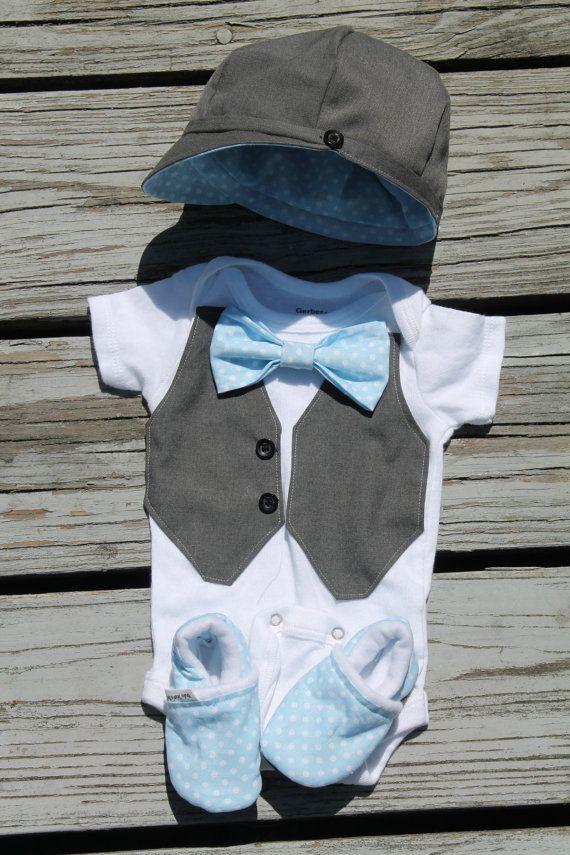 Gift set Spring Summer Baby Boy Vest Bow Tie Dress up Onesie Toddler first Birthday photo prop