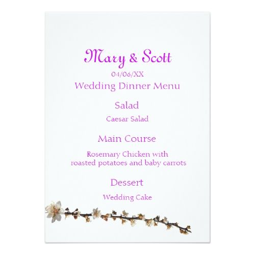 Spring Wedding Menu Purple Leaf Plum Card