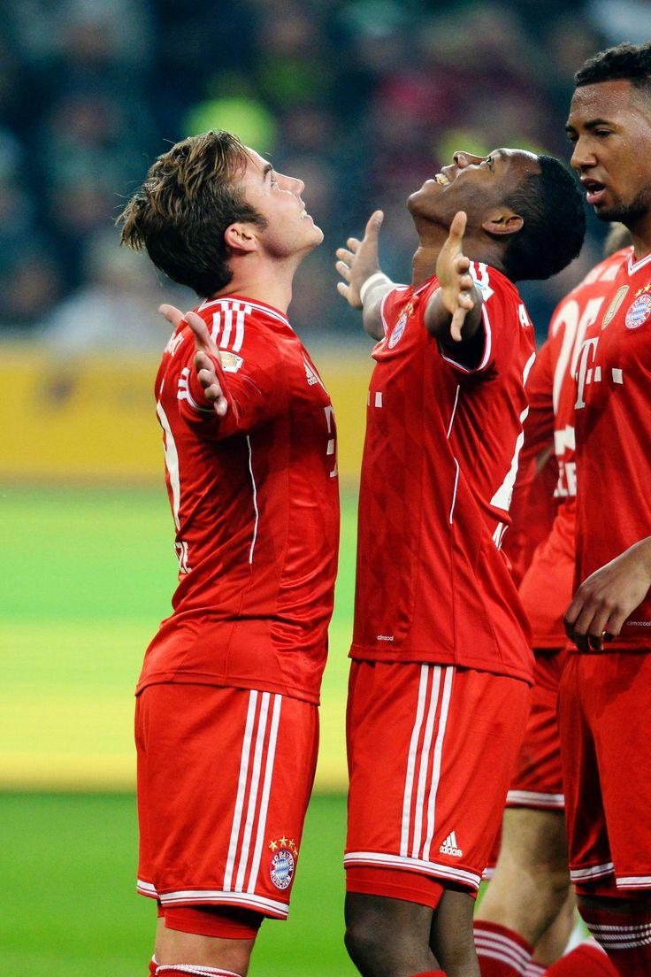 Bayern Munich . Mario Götze & David Alaba celebrating !