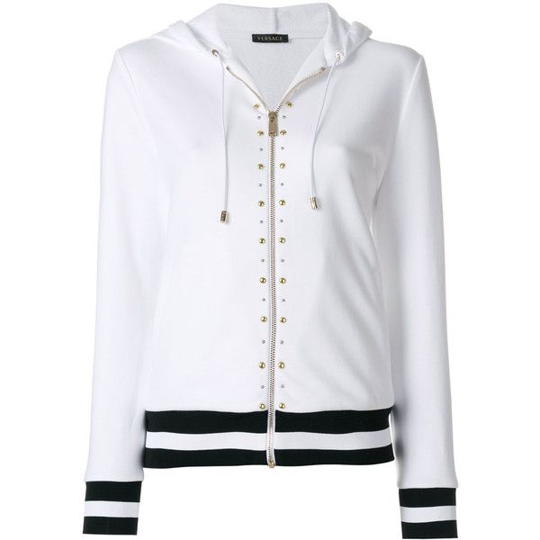 Versace studded stripe detail zipped hoodie ($1,714) ❤ liked on Polyvore featuring tops, hoodies, white, white hooded sweatshirt, zipper hooded sweatshirt, versace hoodie, zip front hoodie and zip hooded sweatshirt