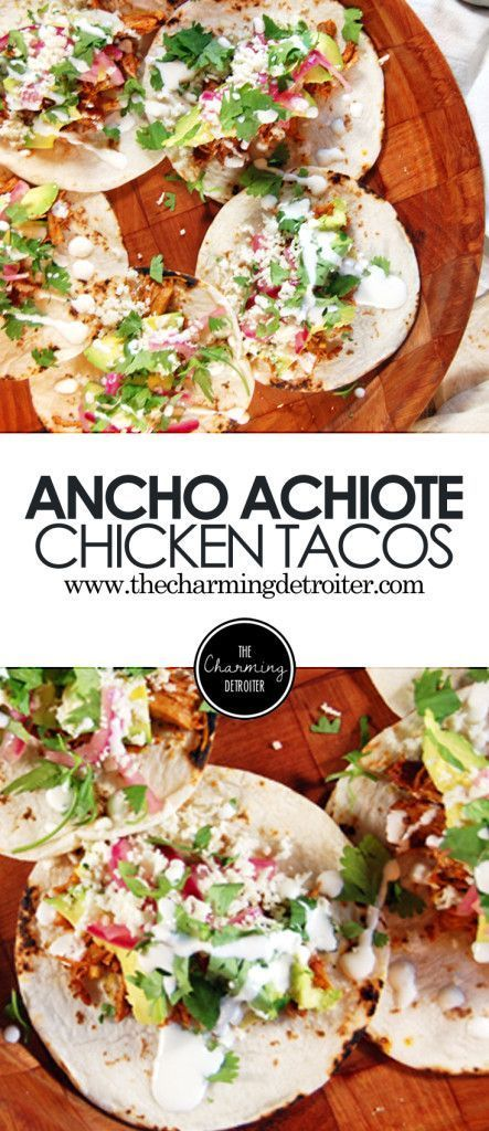 Ancho Achiote Shredded Chicken Tacos with Pickled Red Onions, Avocado, and Crema…