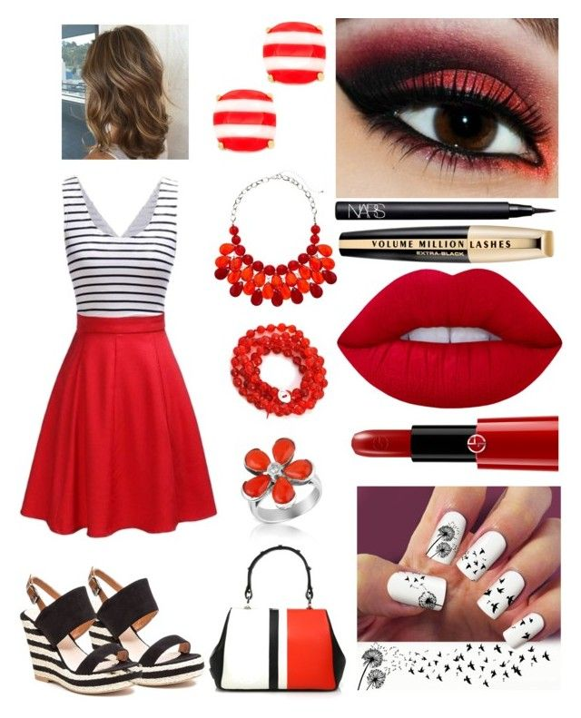 """Bright red paint"" by fashion-cats ❤ liked on Polyvore featuring French Blu, Kate Spade, Alchemy Jewelry, Del Gatto, Prada, Lime Crime, Giorgio Armani, NARS Cosmetics and L'Oréal Paris"