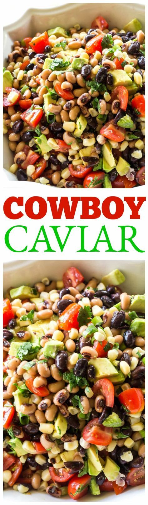 This Cowboy Caviar is one of my favorite recipes to bring to a potluck or BBQ. Beans, avocado, tomatoes, and corn tossed in a light dressing. Eat with chips or just a fork! the-girl-who-ate-everything.com