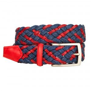 #Cintura intrecciata in pelle e jeans rossa