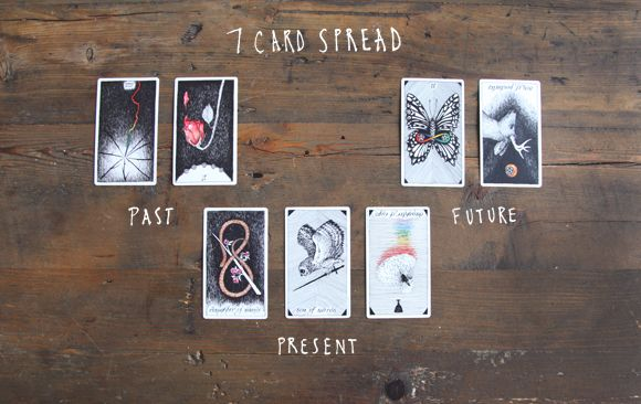 7 card spread http://blog.freepeople.com/2013/10/learning-read-tarot-cards/
