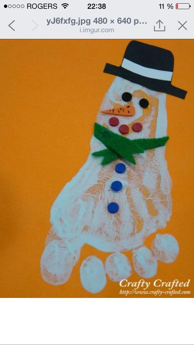 Bonhomme de neige avec le pied