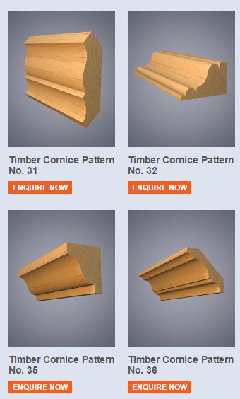 Timber cornice, sometimes called wooden coving, is used to create an attractive finishing touch to internal rooms. Timber cornice is available in a choice of hardwood or softwood timbers, machined to a design of your choice.