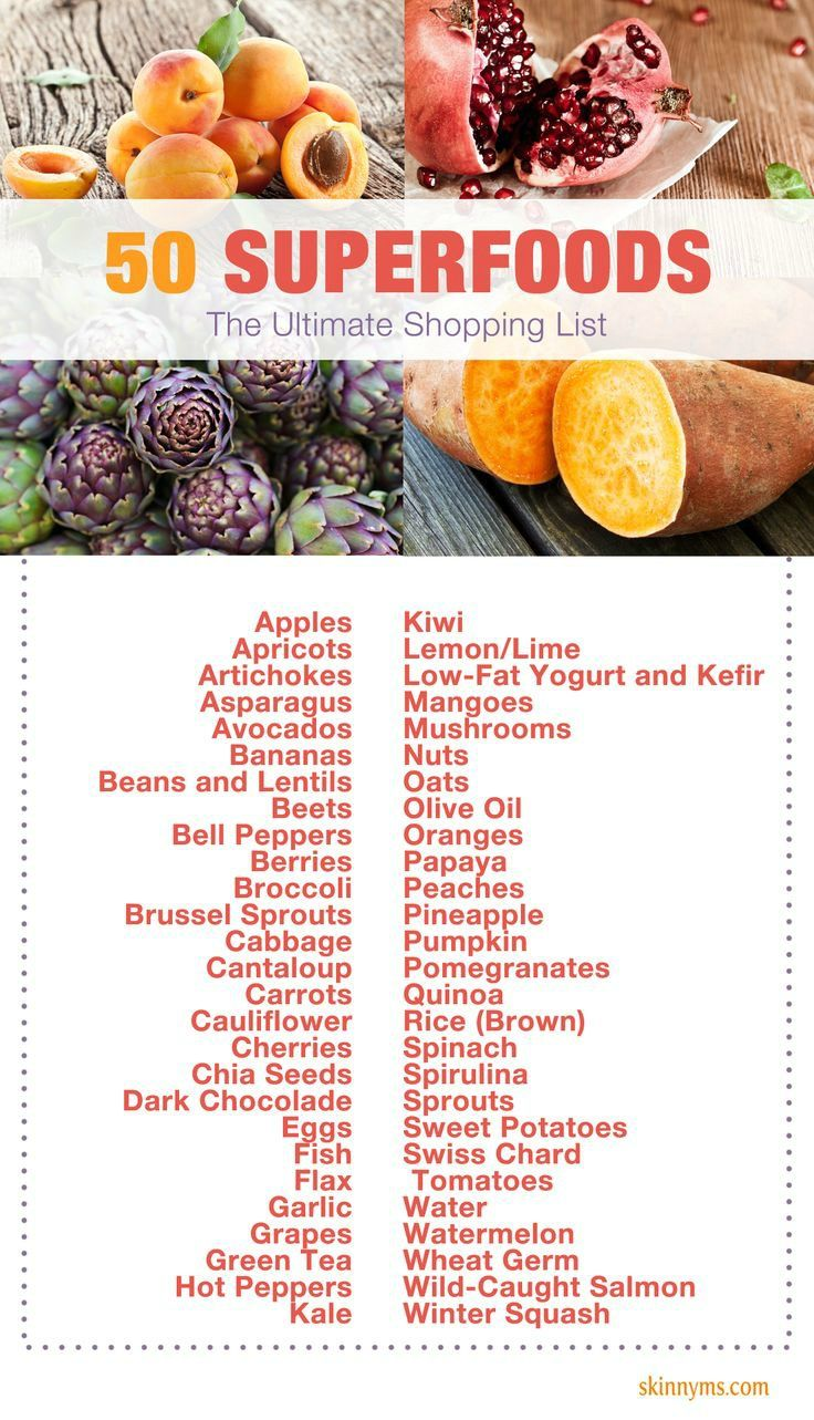 Don't forget to take this list of 50 Superfoods with you grocery shopping this weekend!  #superfoods #shoppinglist