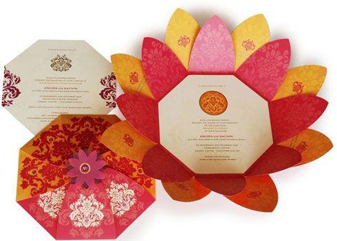 3D Lotus flower wedding invitation