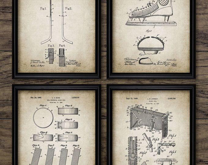 Vintage Ice Hockey Patent Set Of 4 Prints - Vintage Ice Hockey - Ice Hockey Player - Set Of Four Prints #900 - INSTANT DOWNLOAD