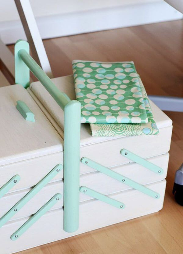 Pretty painted vintage wooden sewing box - 15 Stunning Craft Storage Ideas You Will Want To Steal Like Right Now