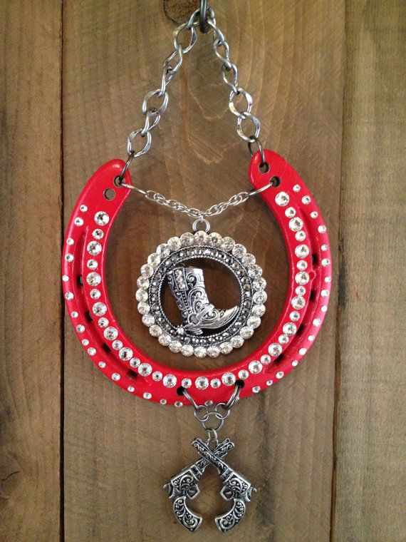 LUCKY HORSESHOE horseshoe art red cowgirl western by LuckAdorned, $90.00