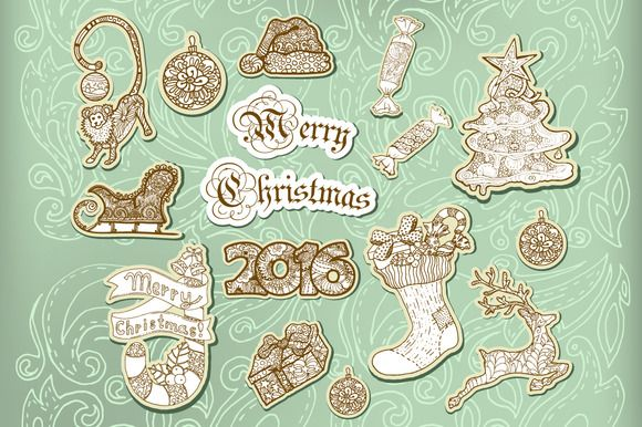 Christmas Scrapbook Sticker ~ Illustrations on Creative Market