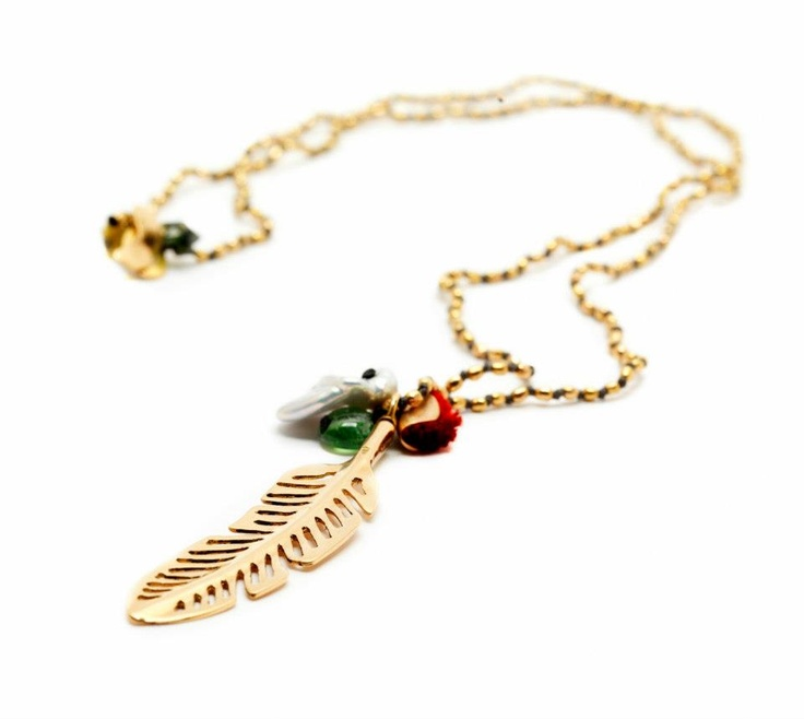 apriati gold feather necklace