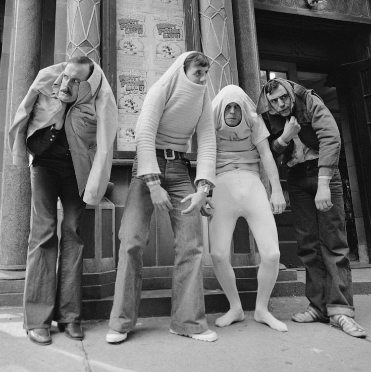 """And now for something completely different"" - Monty Python:  John Cleese, Michael Palin, Terry Gilliam, and Terry Jones."