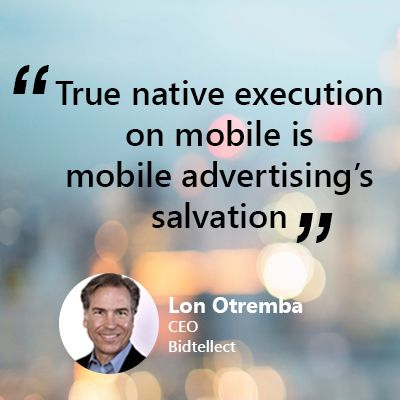 """Lon Otremba CEO at Bidtellect discusses helping marketers create valuable connections, bringing the qualitative(art) & quantitative (science) approaches of marketing together through #tech and the convergence of tech & #creativity. """"The heart of effective #native #advertising experiences is making them more & more relevant"""", opines Lon. Stop by our website to catch Lon discuss #native. #martech #adtech #native #mobileadvertising #challenges #tips #quotes #qanda #executive #marketing…"""