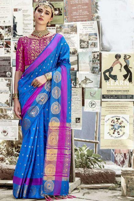 9125779ec7 Cotton Silk Latest Saree in Royal Blue   Designer Sarees   Party ...