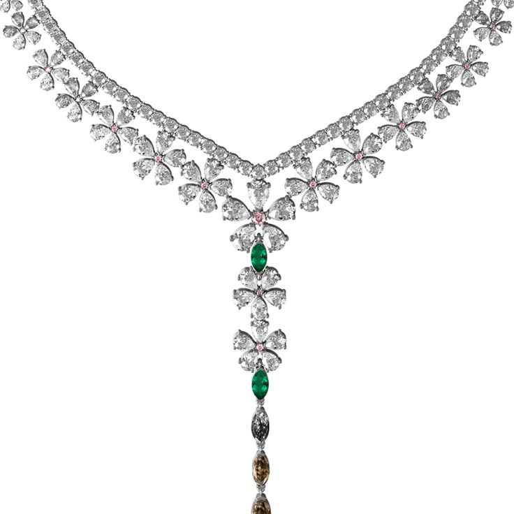 Magnolia necklace made from white, brown and pink diamonds, emeralds and rutile quartz set in 18ct white gold.