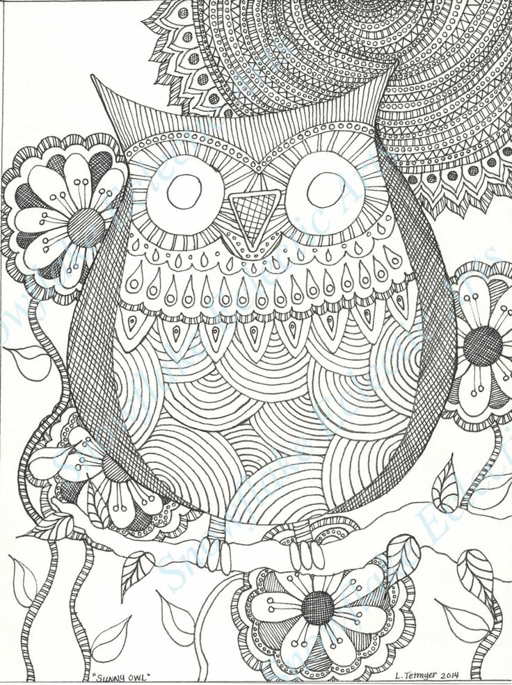 diy coloring page instant pdf digital download printable coloring page sunny owl adults children
