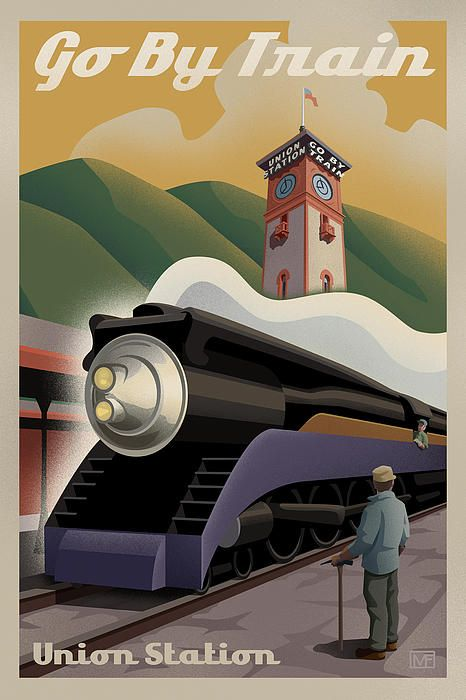 Go by train vintage style print