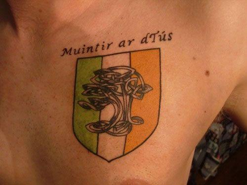 Examples of Irish Tattoo Design: Flag Irish Tattoo Design For Men On Chest ~ heledis.com Tattoo Design Inspiration