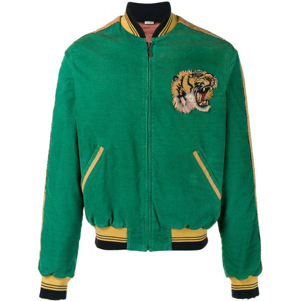 Gucci corduroy bomber jacket ($2,625) ❤ liked on Polyvore featuring men's fashion, men's clothing, men's outerwear, men's jackets, green, mens green jacket, mens green bomber jacket, mens distressed leather jacket, mens corduroy jacket and mens green corduroy jacket