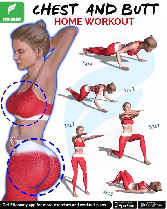Brust und Hintern HOME Workout – #Brust #Hintern #…