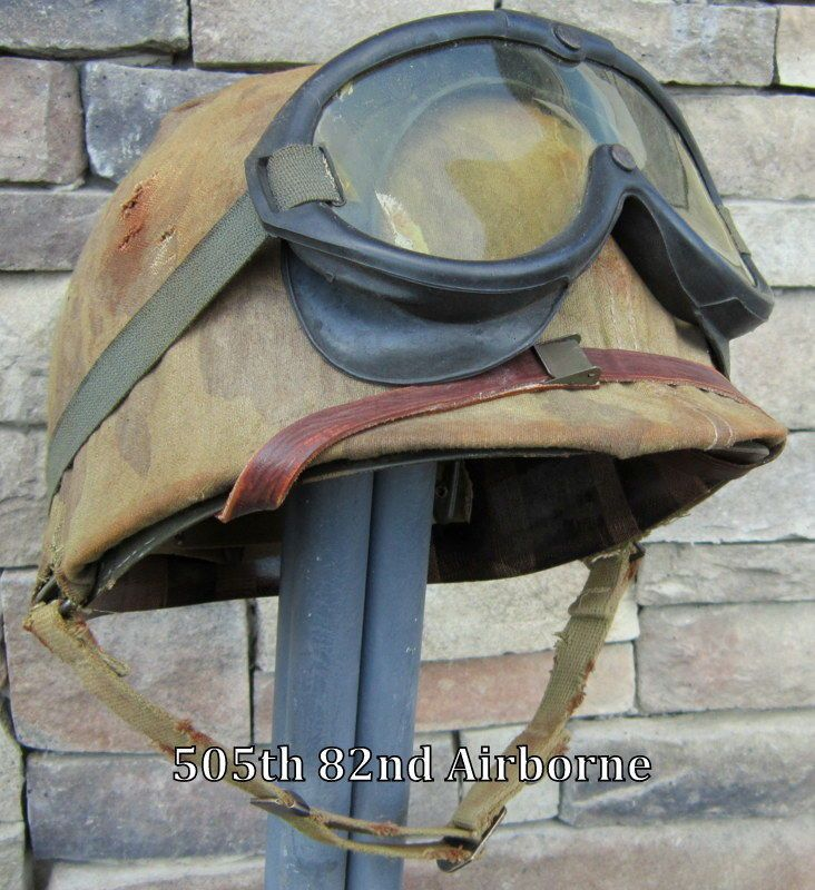 WWII USMC M1 Helmet & Westinghouse Liner Front Seam Cover Polaroid Goggles