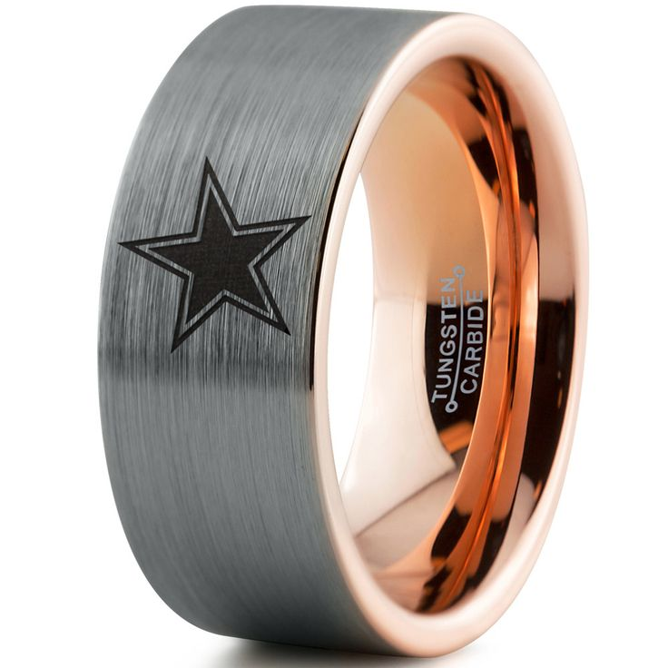Dallas Cowboys 18k Rose Gold Flat Tungsten Ring