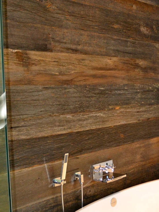 Reclaimed Wood Wall In A Bathroom Divider Between Vanity
