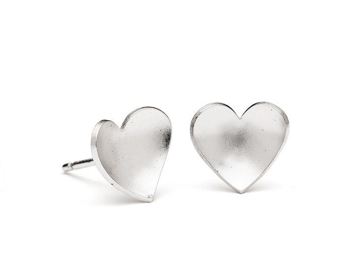 Junction Art Gallery - Leoma Drew eart Small Studs, silver £30.00 http://www.junctionartgallery.co.uk/artists/jewellery/leoma-drew/heart-small-studs