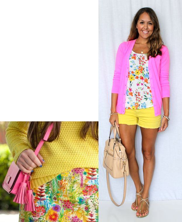 Inspiration: WhoWhatWear  The cutie patootie inspiration photo reminded me of a similar floral shirt  from last summer. So I followed suit and paired it with yellow denim  shorts, and topped it off with a hot pink cardigan. I wound up liking it  with a blue cardigan even more though, which is no surprise, because I did  the same color scheme in a pencil skirt look last year here. Which version  is your favorite?  Pink cardigan: Gap, $14  Blue cardigan: H&M, $18 (similar, similar) Top: Old…