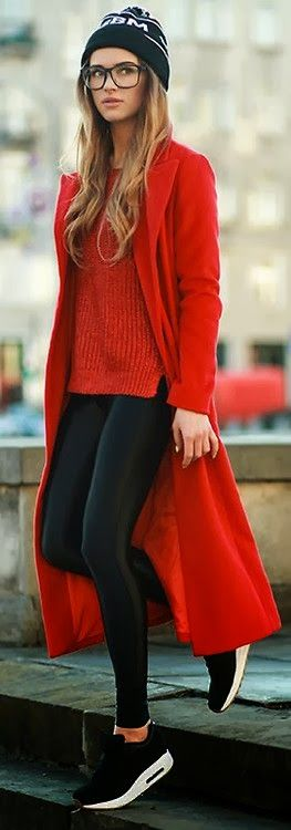 Love! Red oversized state coat with red sweater and black leggings + tennis shoes