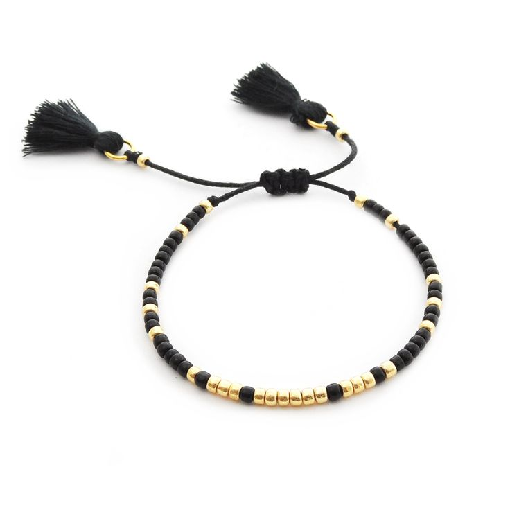 Simple Black / Handmade bracelet made of Toho beads.  Beaded bracelet friendship seed beads by Ilovehandmade
