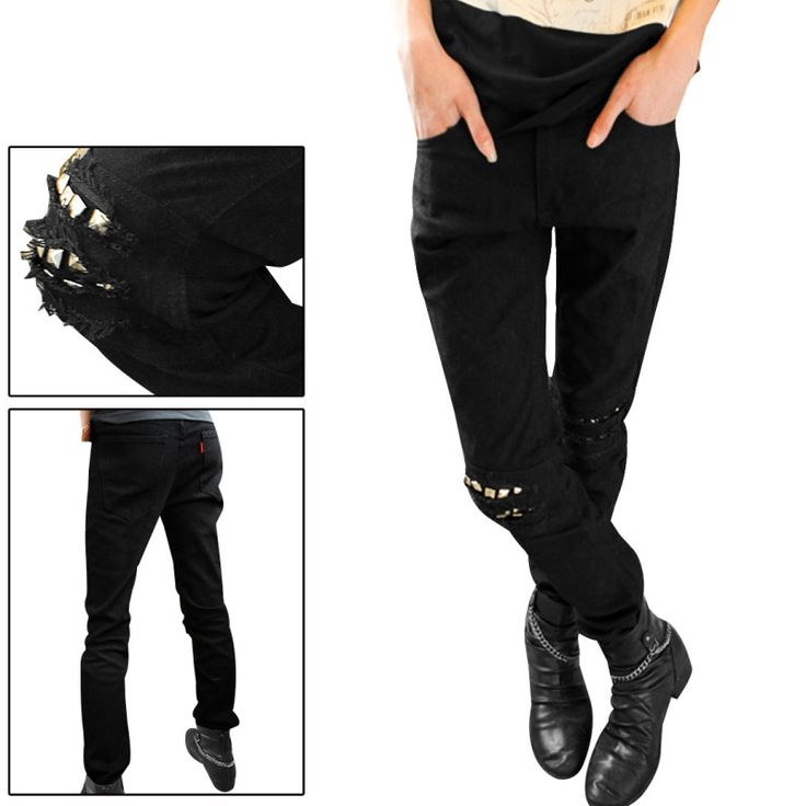 Men Black Mens Ripped Jeans