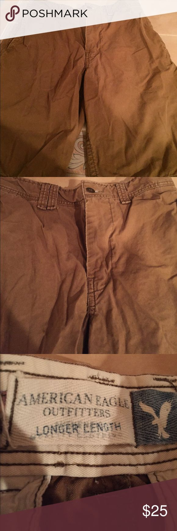 ✂️American Eagle Outfitters✂️Med Brown Shorts S 30 Men's American Eagle Outfitters Longer Length Medium Brown Shorts Size 30. Condition is good. American Eagle Outfitters Shorts
