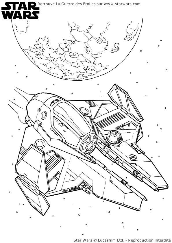 Un vaisseau spatial de Star Wars à colorier.