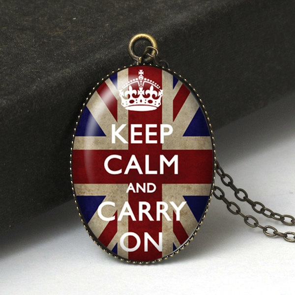 Keep Calm and Carry On Necklace, Keep Calm Jewelry, British Flag Necklace, Keep Calm Necklace, British Jewelry, Bridesmaid Gift N372