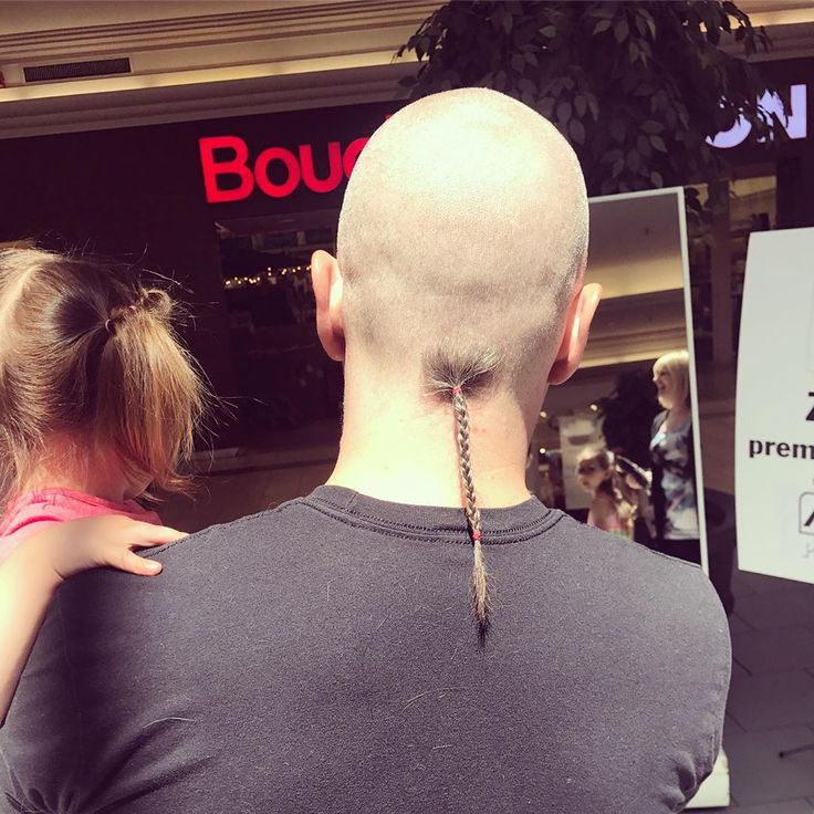 Man With Shaved Head And Long Braided Rattail Haircut
