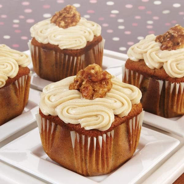 Banana Walnut French Toast Cupcakes ! So Good ! Piled High  Perfect cream cheese icing & crunchy candied walnuts !